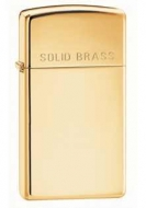 Bricheta Zippo Slim High Polish Brass cu inscriptia